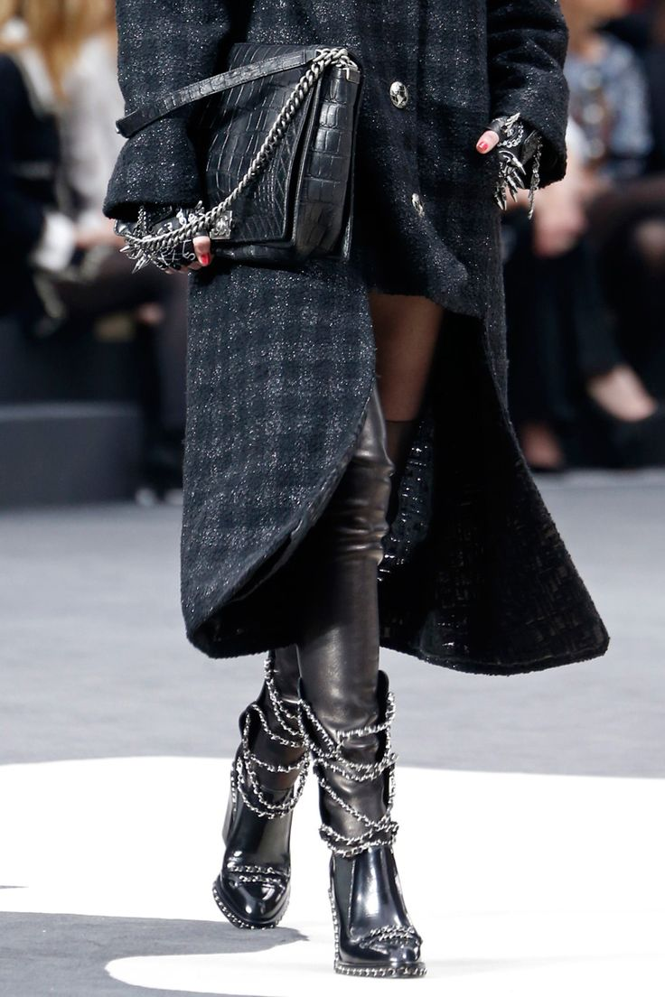 Punk Rock at Chanel with chains and spikes. Fall 2013 #Accessories