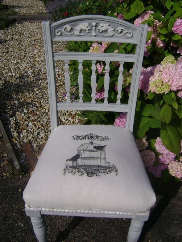 Antique oak chair, painted in Autentico Vintage 'Soft Grey' Furniture Paint. The linen fabric has been decorated with a pretty birdcage design.