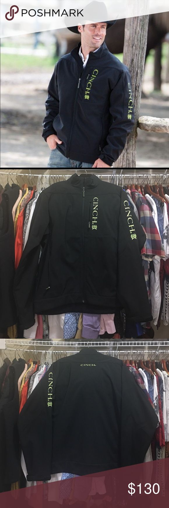 ✨CINCH MEN JACKET✨ In EXCELLENT CONDITION USEN ONCE !!! 93% Polyester / 7% Spandex Black Bonded Jacket Green Embroidered Logos Long Sleeves with Adjustable Cuff Zipper Front Closure Zip Front Hand Pockets Left Chest Zip Pocket with Logo Interior Velcro Concealed Carry Pockets Velcro Holster Included Mock Collar Cinch Hem Machine Wash *Cavender's Exclusive* Cinch Jackets & Coats