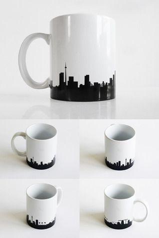 Johannesburg Skyline Mug - Ceramic coffee mug with an extended version of the skyline.