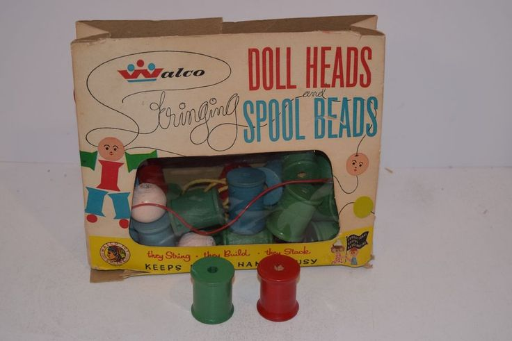 """Vintage 1950's Walco """"Doll Heads and Spool Beads"""" Kids String Kit Game"""