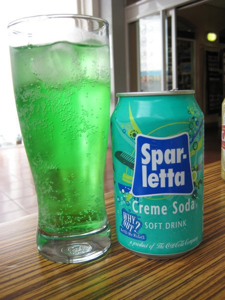 South African version of CREME SODA, one of the foods that Lexi Mills, an expat in London, says she misses most from her homeland: http://thedisplacednation.com/2012/05/08/when-in-london-hey-ag-no-man-10-foods-i-still-miss-from-my-homeland/. Creme soda just isn't the same, she says, if it's not bright green.