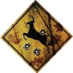 Rivers Edge Deer Crossing Tin Sign. When we move to a bigger home I'd love to make all the boys a hunting themed bunk room :))