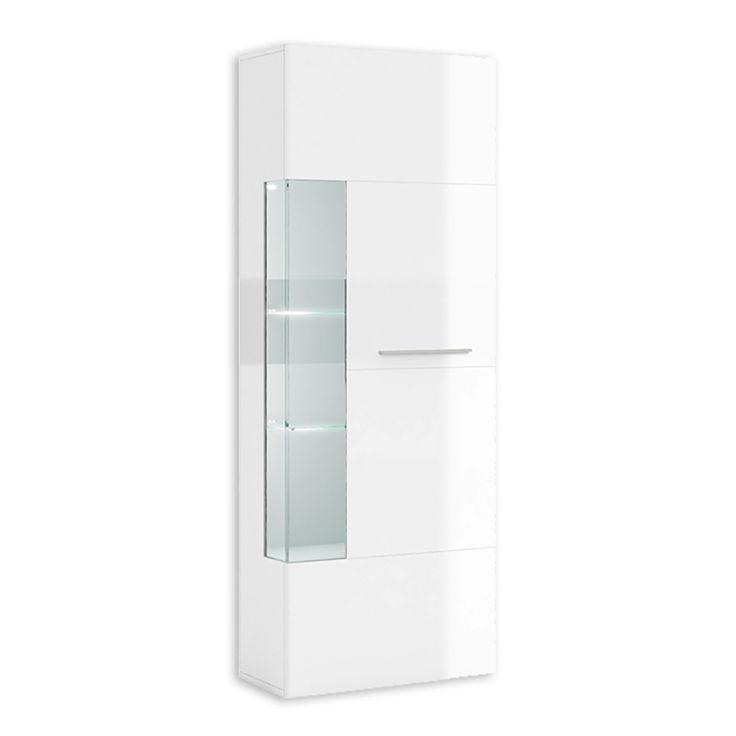Vitrine SKY - weiß-weiß Hochglanz - 70 cm breit