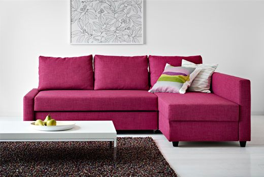 IKEA - FRIHETEN, Corner sofa-bed, Skiftebo cerise, , You can place the chaise lounge section to the left or right of the sofa, and switch whenever you like.Storage space under the chaise. The lid stays open so you can safely and easily take things in and out.Easily converts into a bed.Sofa, chaise and double bed in one.