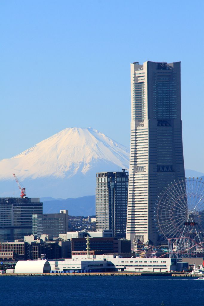 Minatomirai, Yokohama, Japan..Mt. Fuji in the background