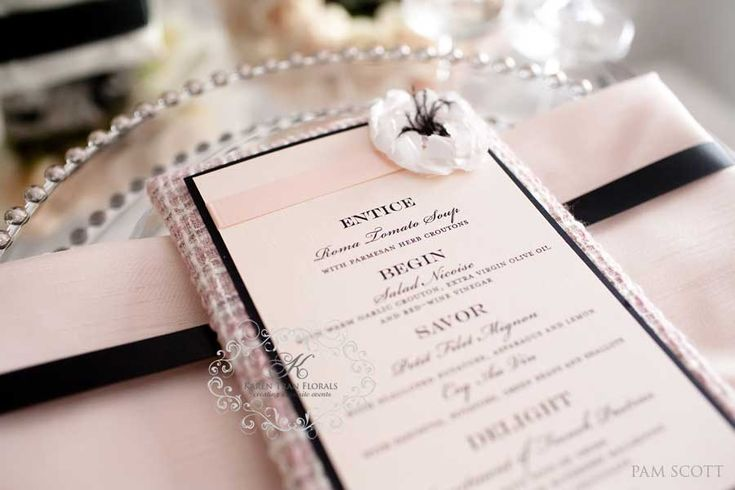 Blush black and white chanel wedding