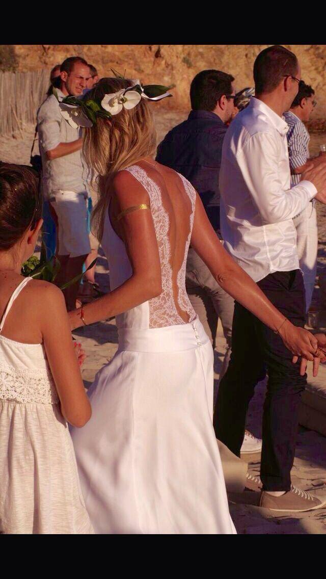 Robe de mariée Boho, dentelle, dos nu.