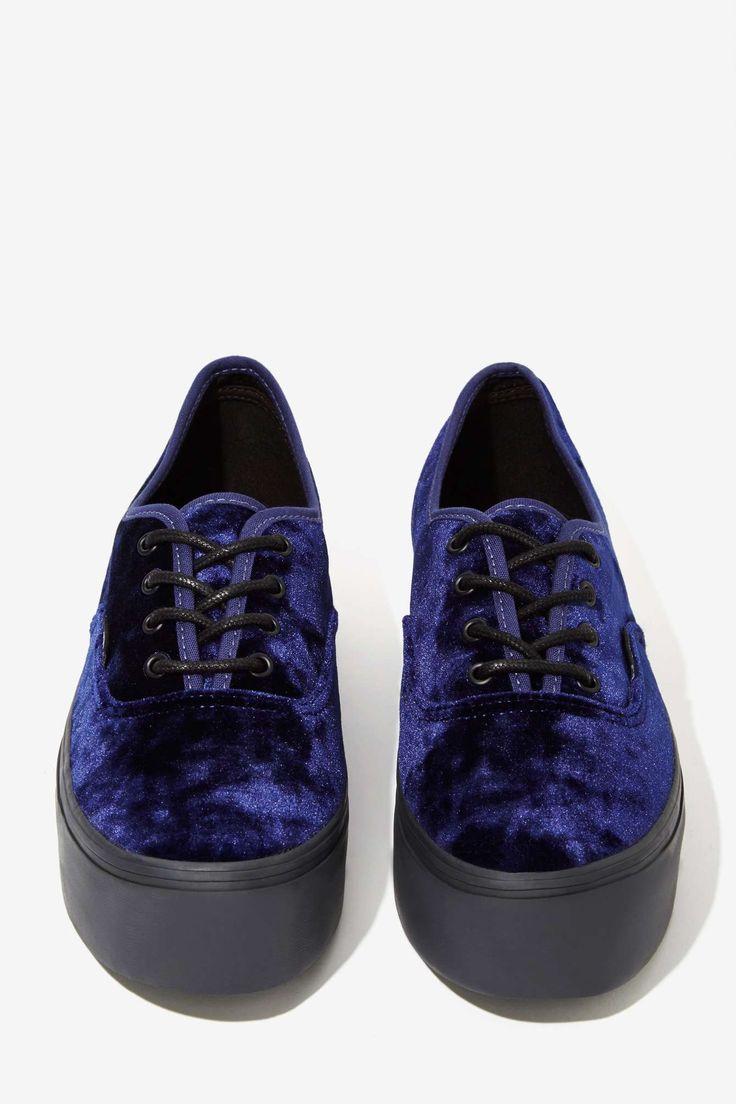 Vans Authentic Platform Sneaker - Blue Velvet | Shop Shoes at Nasty Gal