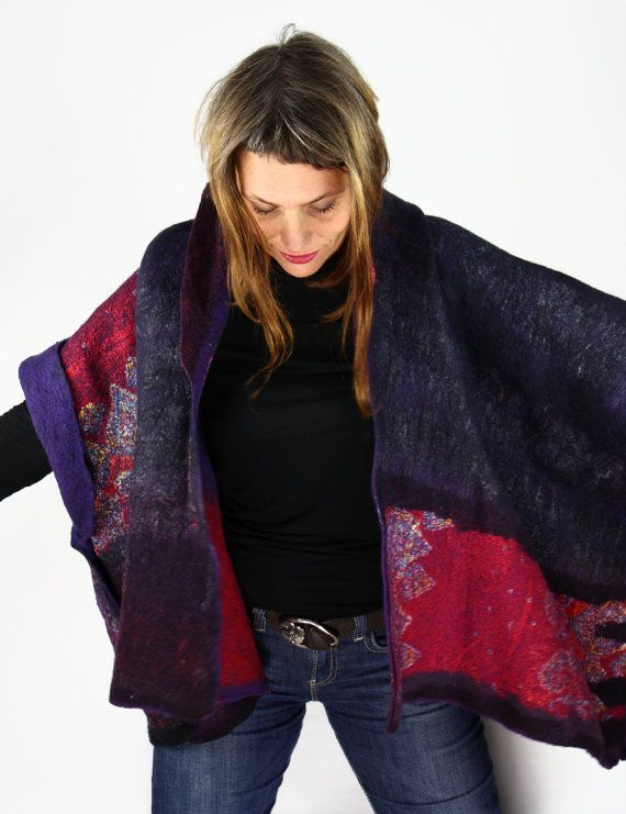 Gorgeous  mongolian inspired nuno felted poncho by ArianeMariane