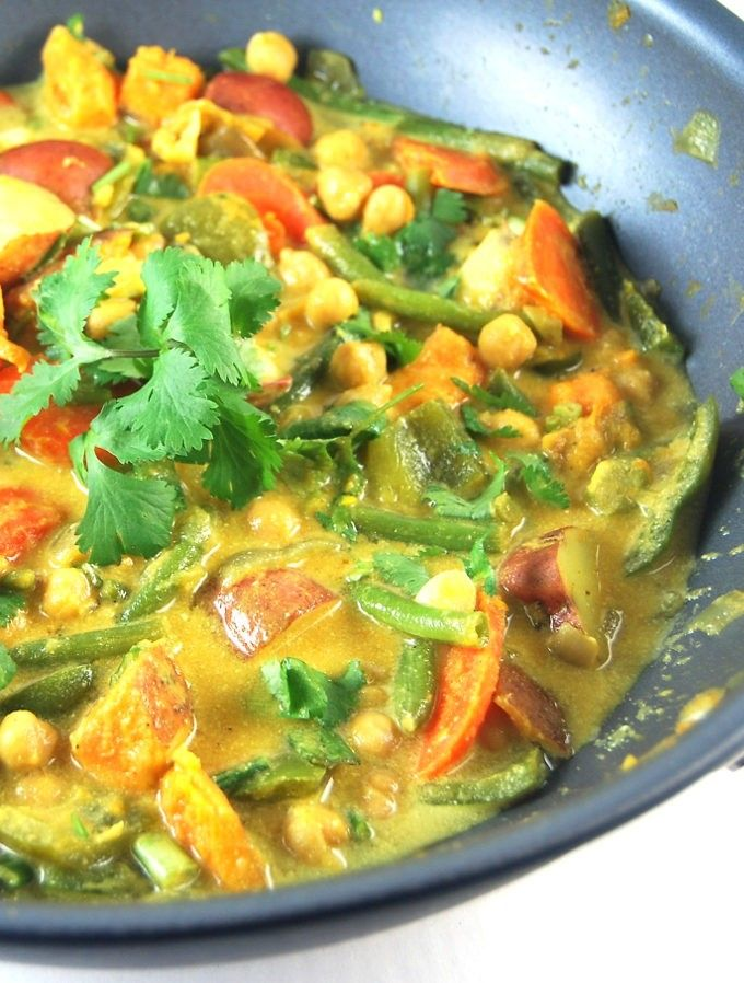 A delicious, creamy and easy Vegetable Curry with Chickpeas in a sea of coconut milk. This is a gluten-free, child-friendly recipe.