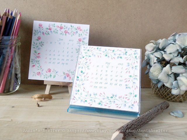 2017 Printable Desk Calendar for CD Jewel Case with Watercolor Floral Design by Canadian Artist by AnnieAtelier on Etsy