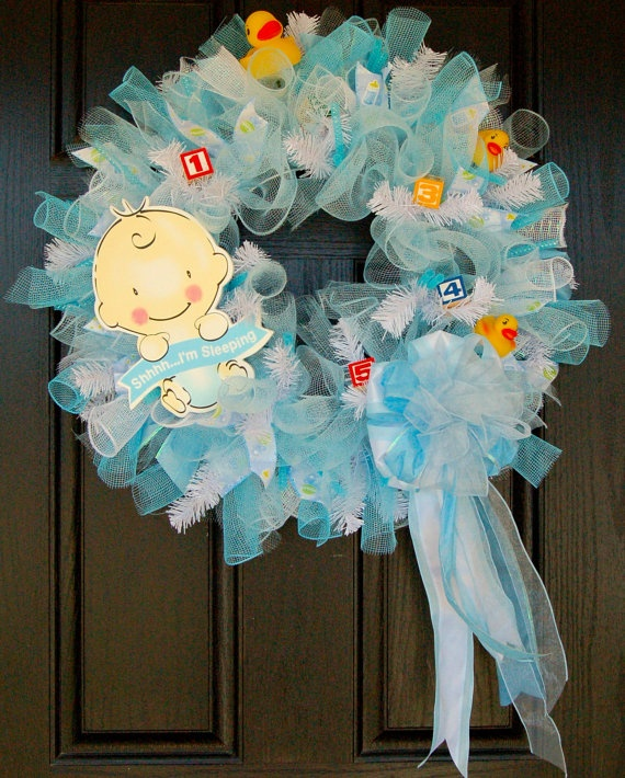 Its a boy - Baby shower wreath or great for a gift