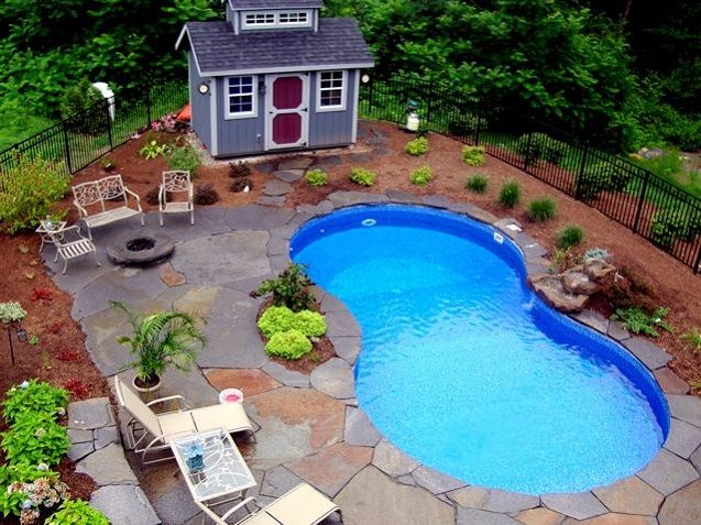 Design layout ideas for pool landscaping inground pool for Pool landscaping pictures
