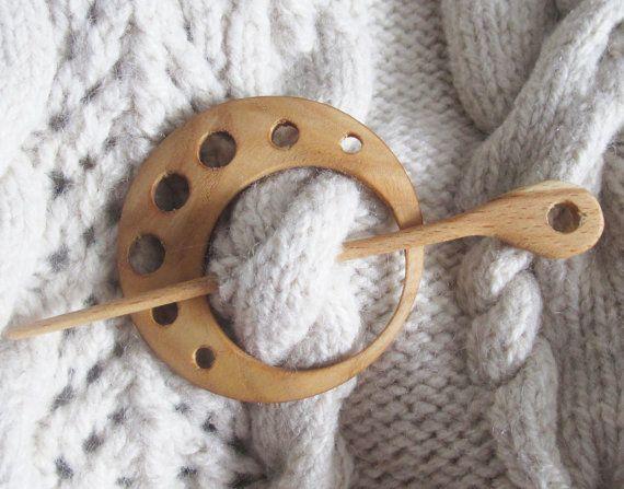 Rustic Wooden Scarf Pin Wooden Shawl Pin Organic Wood by Vishemir