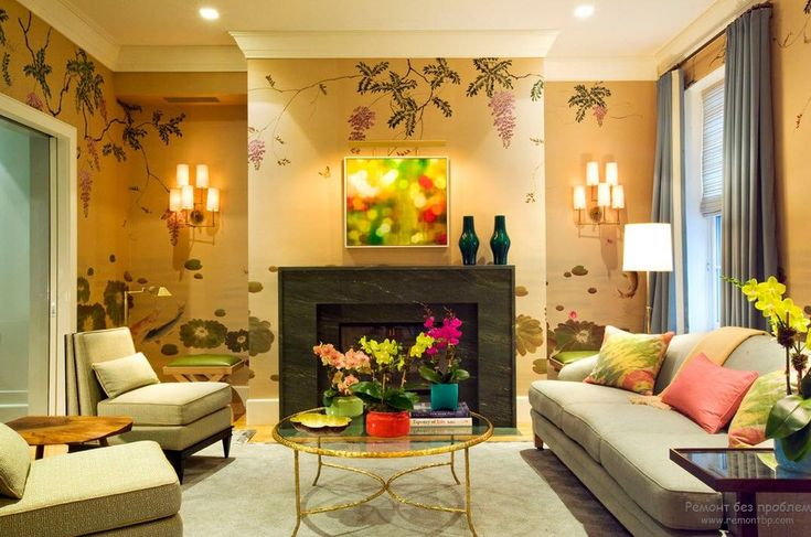 Модные обои для интерьере современной гостиной