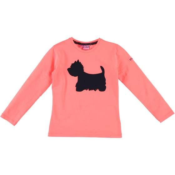 "O'CHILL ""Roos"" roze longsleeve t-shirt met print van een hond"