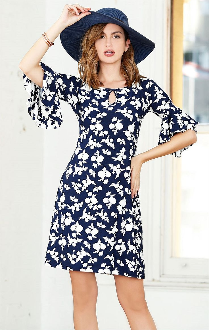 LITTLE HILLS BELL SLEEVE KEYHOLE NECK KNEE LENGTH STRETCH JERSEY PRINTED TUNIC DRESS IN NAVY FLORAL