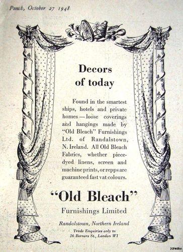 1948 'OLD BLEACH' Furnishing Fabrics Original Advert - Small Print Ad Vintage