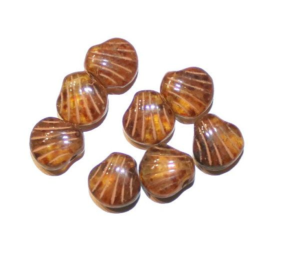 Bohemian Czech 9mm Amber Picasso Shell Beads  8mm  8 by jodysbeads