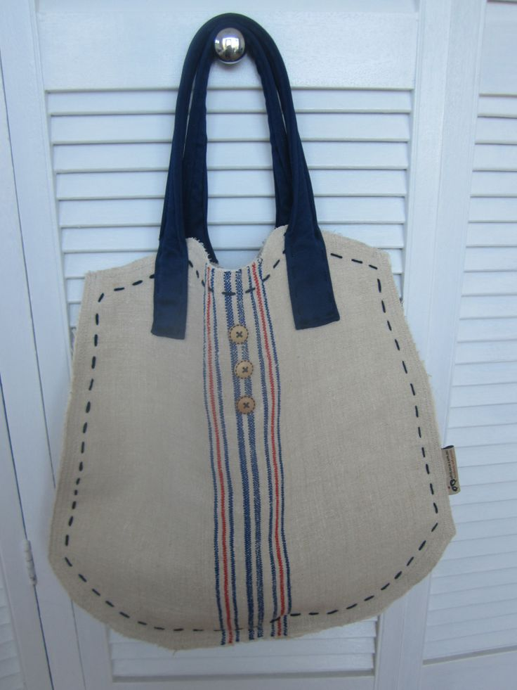 Grain sack bag with fabric handles
