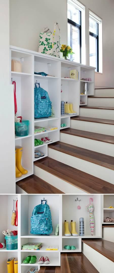 200This family may not have a big entryway but they have a wide staircase which they turned into a mudroom of sorts with tons of storage for every family member. This project was done by organization specialists, California Closets, who, as you can tell, do much more than traditional closets (and in many more places than California)