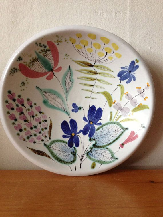 Stig Lindberg Decorative Floral Pottery Bowl