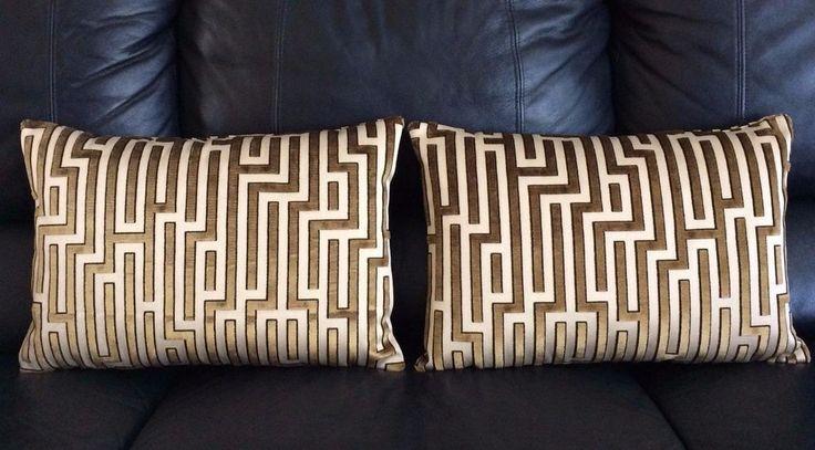 New, Pair of Kravet Rhondas Maze Coin Velvet Contemporary Throw Pillows #CustomMade #Modern