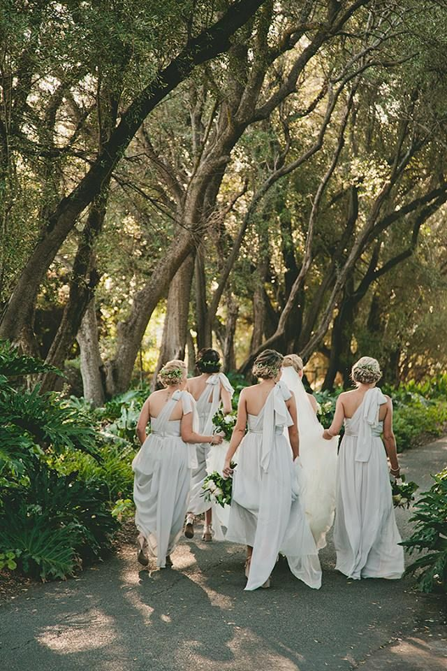 whimsical bridesmaids in grey. Pretty photo shoot under trees