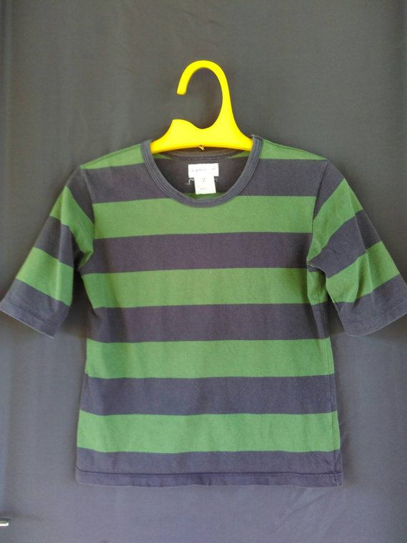 Authentic Vintage Agnes B Paris France woman fashion designer striped T Shirt OG Swag by ArenaVintage