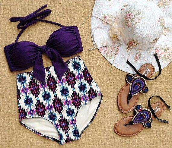 Lian Aztec Print Halter Straps Highwaist Swimsuit Swimwear Bikini Bathing Suit on Etsy, $25.00