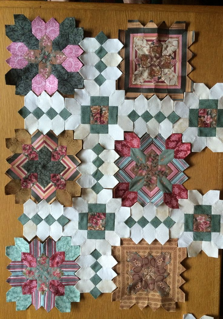 64 coloured squares made so now starting to join my kingsize POTC Lucy Boston quilt!!