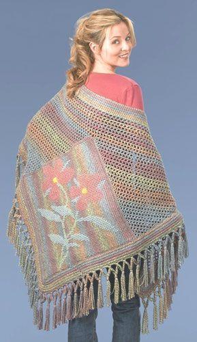 Tunisian Crochet Flower Shawl with free pattern