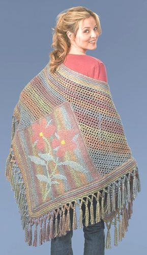 Tunisian Crochet Flower Shawl with free pattern
