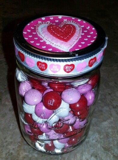 Mason jar with M&M's, ribbon, Washi  tape & felt stickers.