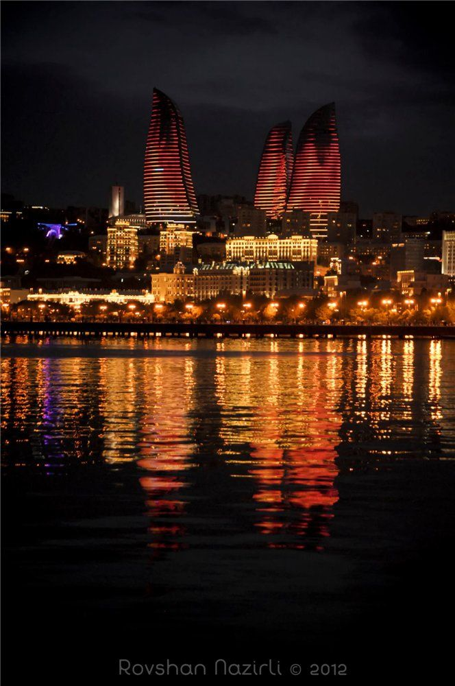 Baku Flame Towers, it's crazy to see these at night, so beautiful, and yet they overshadow so much of the city's other beauties.