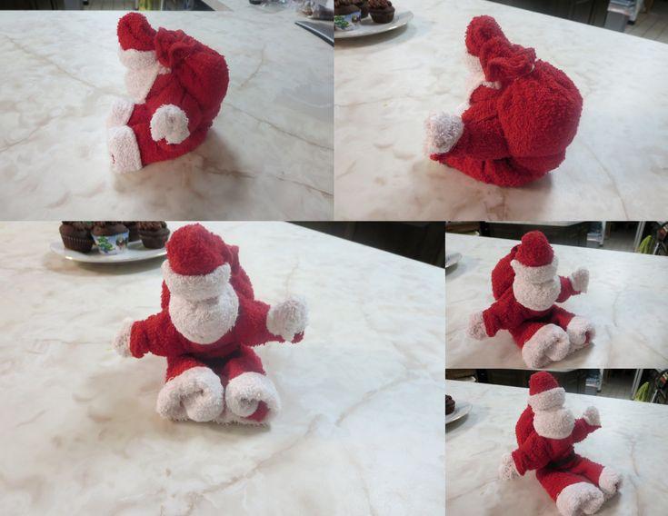 washcloth folding craft santa | washcloth craft ...