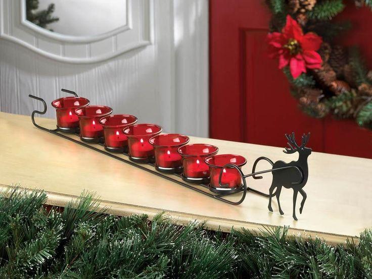 reindeer sleigh candle display