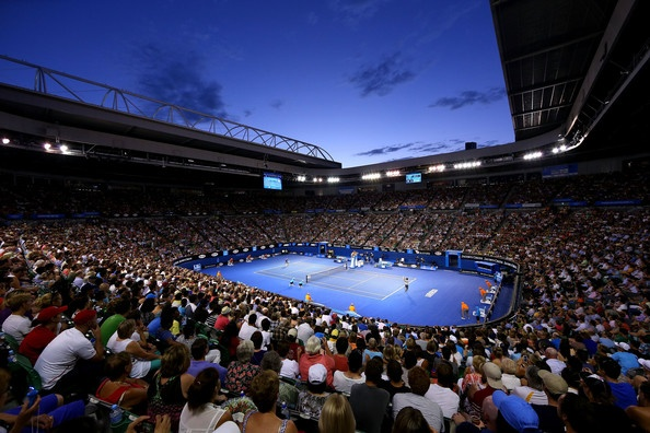 A general view of Rod Laver Arena during the second round match between Nikolay Davydenko of Russia and Roger Federer of Switzerland during day four of the 2013 Australian Open at Melbourne Park on January 17, 2013 in Melbourne, Australia.