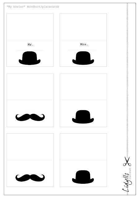 table cards, (or tags.. )bowlerhats, free printable http://lidyll.blogspot.nl/2012/04/barte-og-bowler-bordkort-til-dere.html?showComment=1335473920618