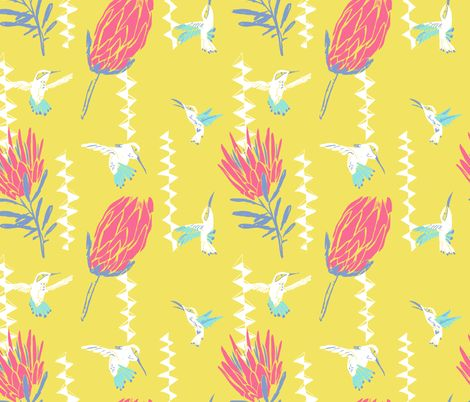 Protea and humming bird in yellow fabric by canigrin on Spoonflower - custom fabric