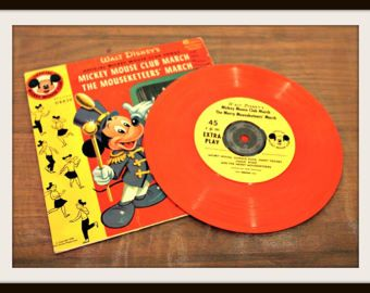 1955 Walt Disney's Official Mickey Mouse Club March The Mousketeers' March Record Album 45 RPM, Vintage Kids Records, Old TV Shows