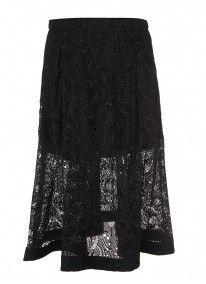 Midi Lace Skirt Black