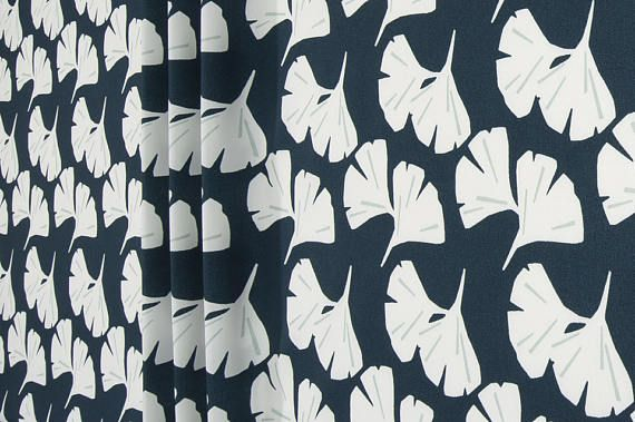 Navy Blue Contemporary Outdoor Fabric Designer Floral Curtain Fabric Cushion Fabric Upholstery Fabric Drapery Fabric Indoor or Outdoor C512
