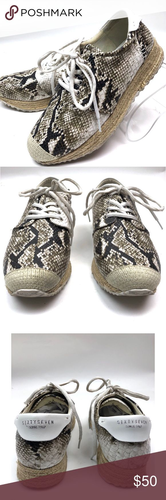 "{SixtySeven} Python Print Espadrille Sneakers *Preowned *Good Condition normal wear *Size 8 *Lace up closure  *approx 2"" heel Sixtyseven Shoes Sneakers"