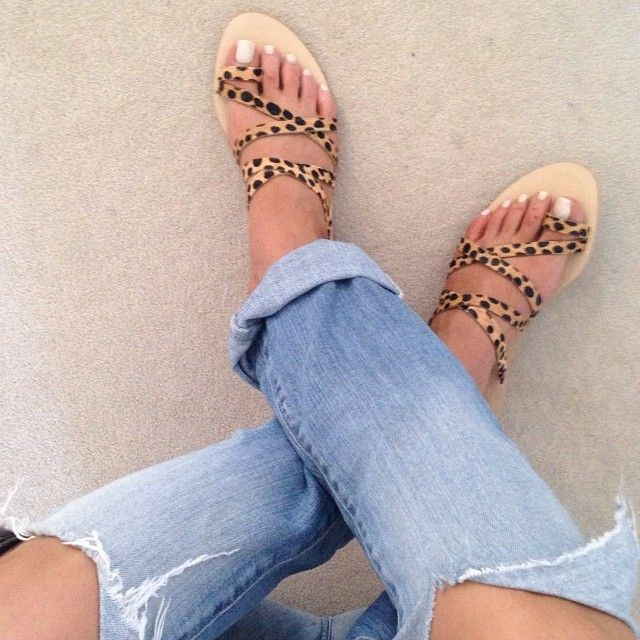 Sandal perfection at my place #denim #animalprint