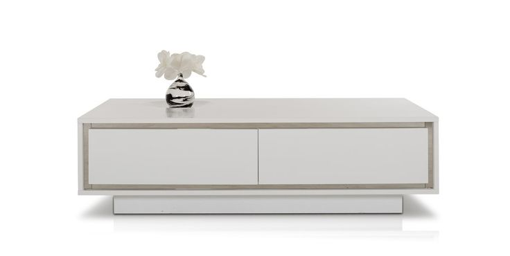 A&X Grand Modern White Crocodile Lacquer Coffee Table with Drawers - Coffee Tables - Living Room