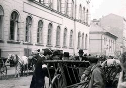 Krakow Ghetto. Jews entering the ghetto with loaded wagons