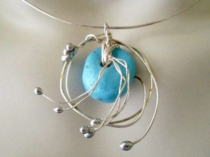 Turquoise Wire Wrapped Pendant  New Silver by JirjiMirjiOneofaKind, €40.00