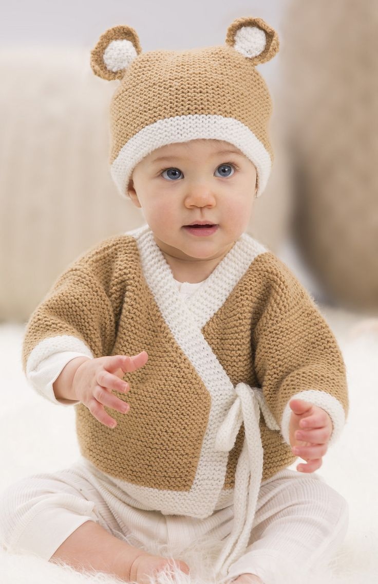 Free Knitting Pattern for Baby Teddy Sweater and Hat in Garter Stitch - Jodi Lewanda designed this versatile, wrap baby sweater and teddy bear hat knit in garter stitch for Red Heart. Sized for 0-3 months, 6-9 months, and 12 months.